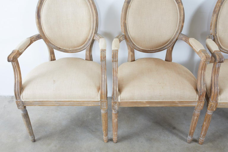 Set of Ten French Louis XVI Style Oak Dining Chairs For Sale 1