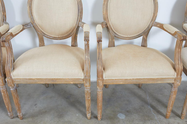 Set of Ten French Louis XVI Style Oak Dining Chairs For Sale 2