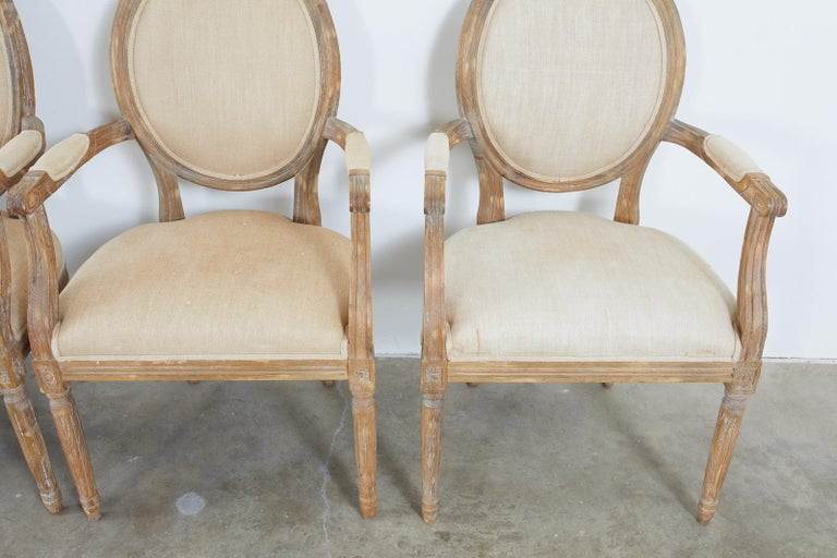 Set of Ten French Louis XVI Style Oak Dining Chairs For Sale 3