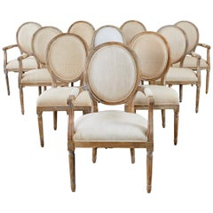 Set of Ten French Louis XVI Style Oak Dining Chairs
