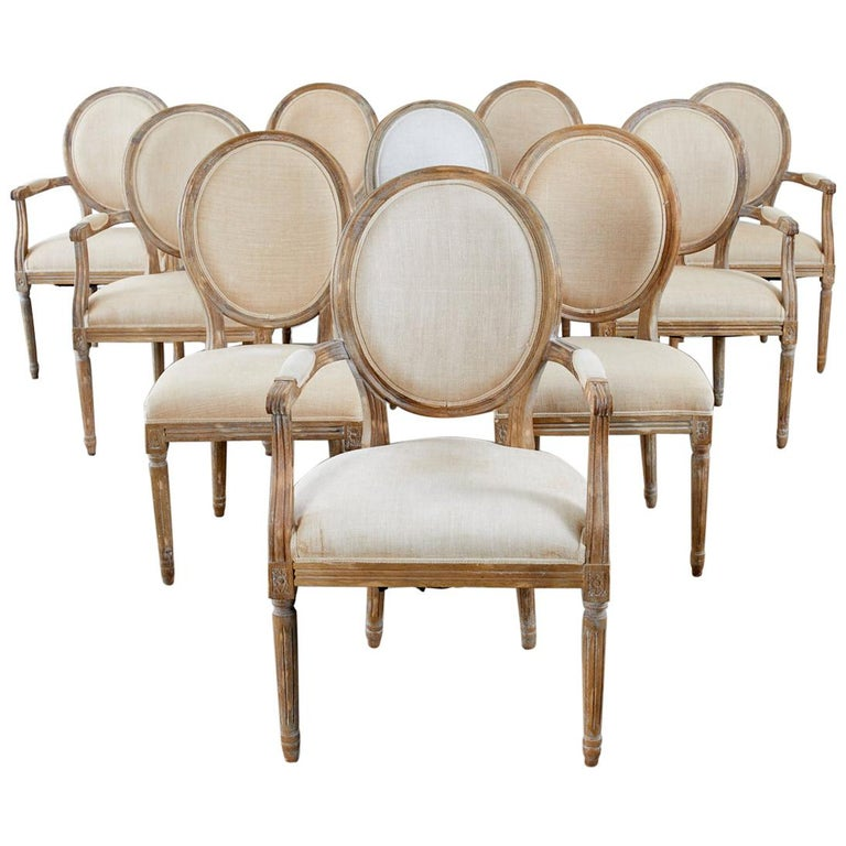 Set of Ten French Louis XVI Style Oak Dining Chairs For Sale