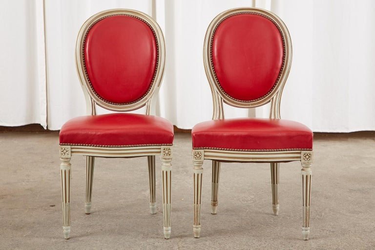 Set of Ten French Louis XVI Style Painted Dining Chairs For Sale 4
