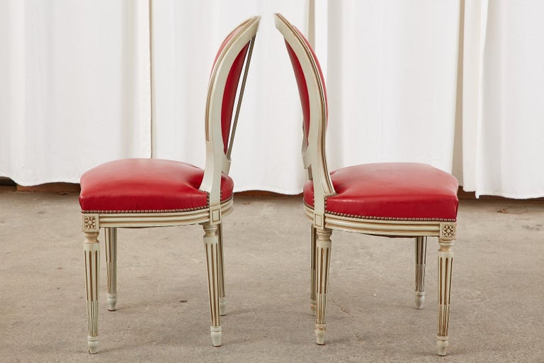 Set of Ten French Louis XVI Style Painted Dining Chairs For Sale 5