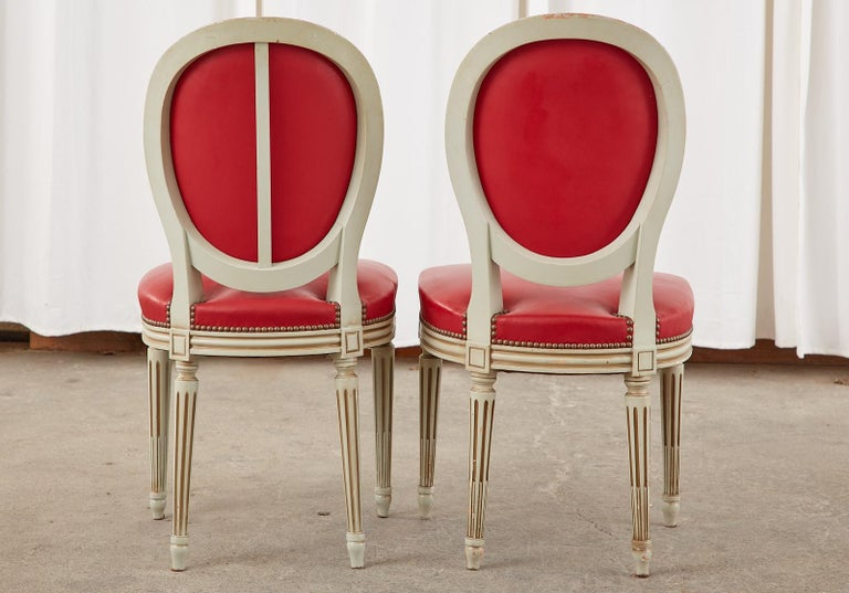 Set of Ten French Louis XVI Style Painted Dining Chairs For Sale 6