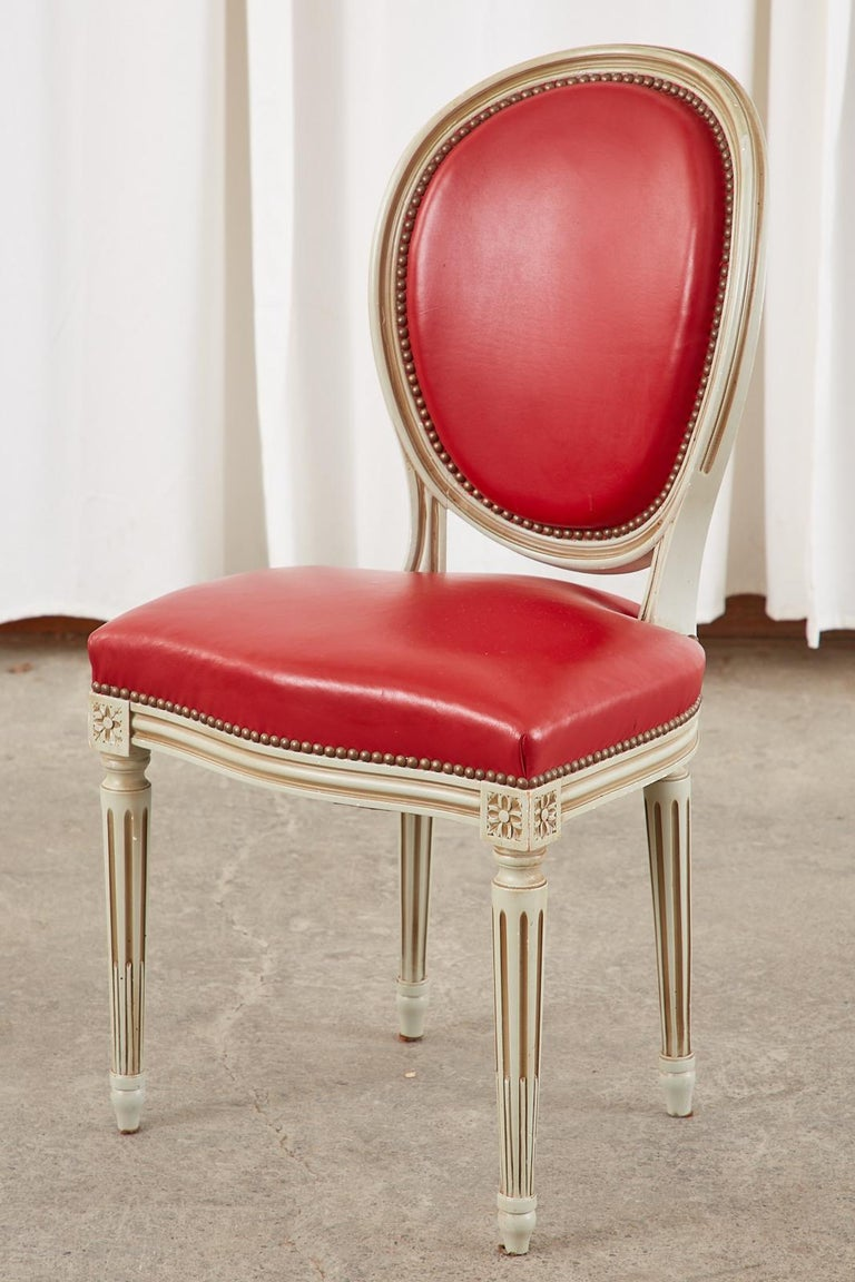 Set of Ten French Louis XVI Style Painted Dining Chairs For Sale 8