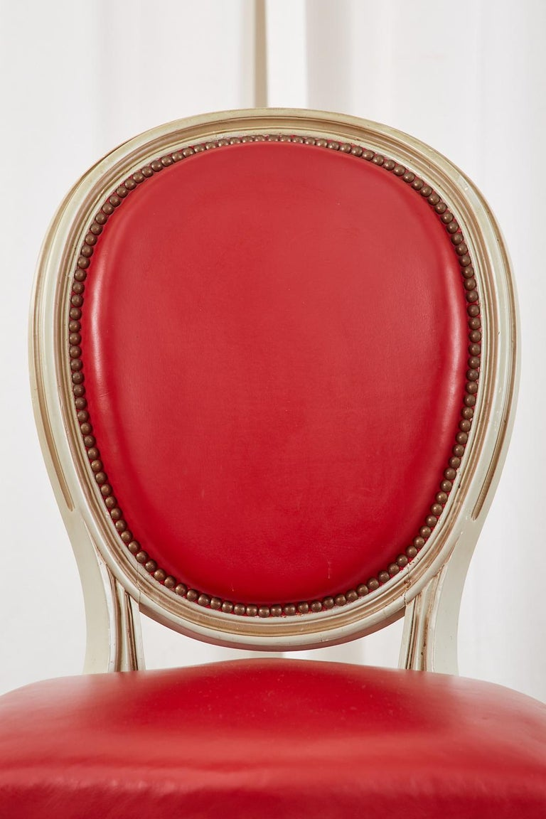 Set of Ten French Louis XVI Style Painted Dining Chairs For Sale 9