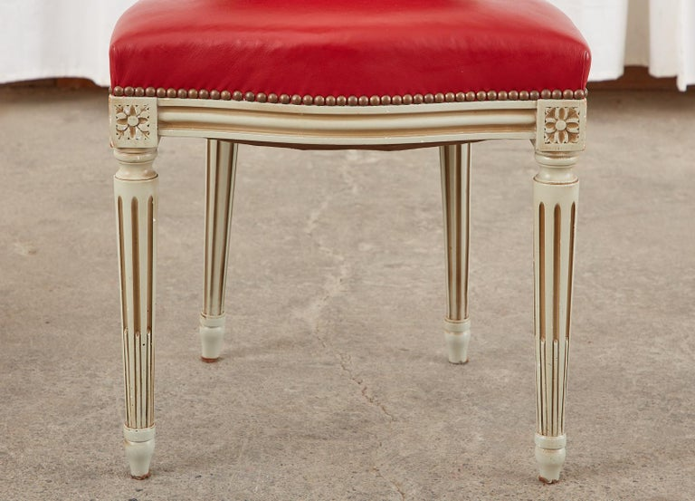 Set of Ten French Louis XVI Style Painted Dining Chairs For Sale 10