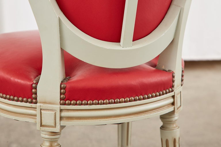 Set of Ten French Louis XVI Style Painted Dining Chairs For Sale 13