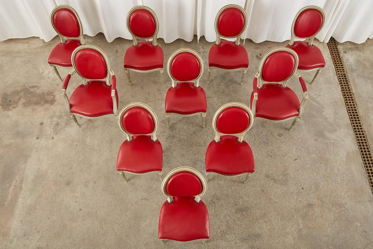 Lacquered Set of Ten French Louis XVI Style Painted Dining Chairs For Sale