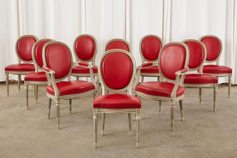 Set of Ten French Louis XVI Style Painted Dining Chairs In Good Condition For Sale In Rio Vista, CA
