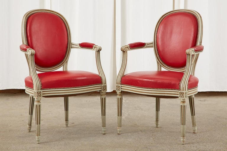 20th Century Set of Ten French Louis XVI Style Painted Dining Chairs For Sale