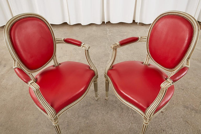 Brass Set of Ten French Louis XVI Style Painted Dining Chairs For Sale