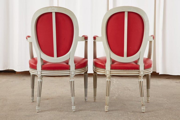 Set of Ten French Louis XVI Style Painted Dining Chairs For Sale 2