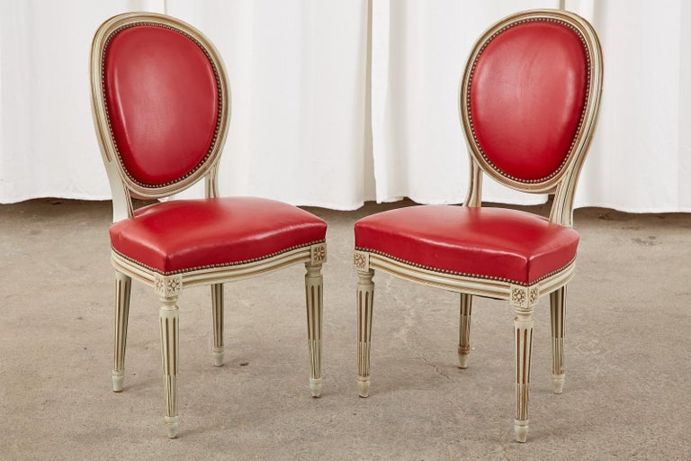 Set of Ten French Louis XVI Style Painted Dining Chairs For Sale 3
