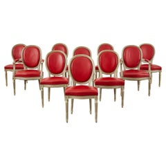 Set of Ten French Louis XVI Style Painted Dining Chairs