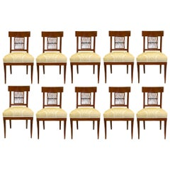 Set of Ten French Mahogany Directoire St. Dining Chairs