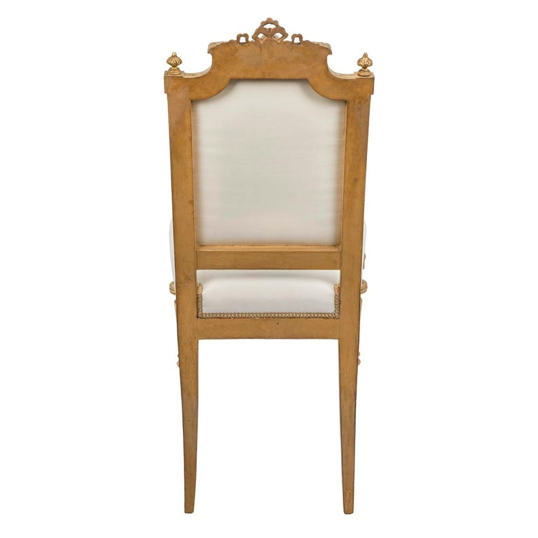 Set of Ten French Mid-19th Century Louis XVI Style Giltwood Dining Chairs For Sale 2
