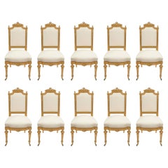 Set of Ten French Mid-19th Century Louis XVI Style Giltwood Dining Chairs