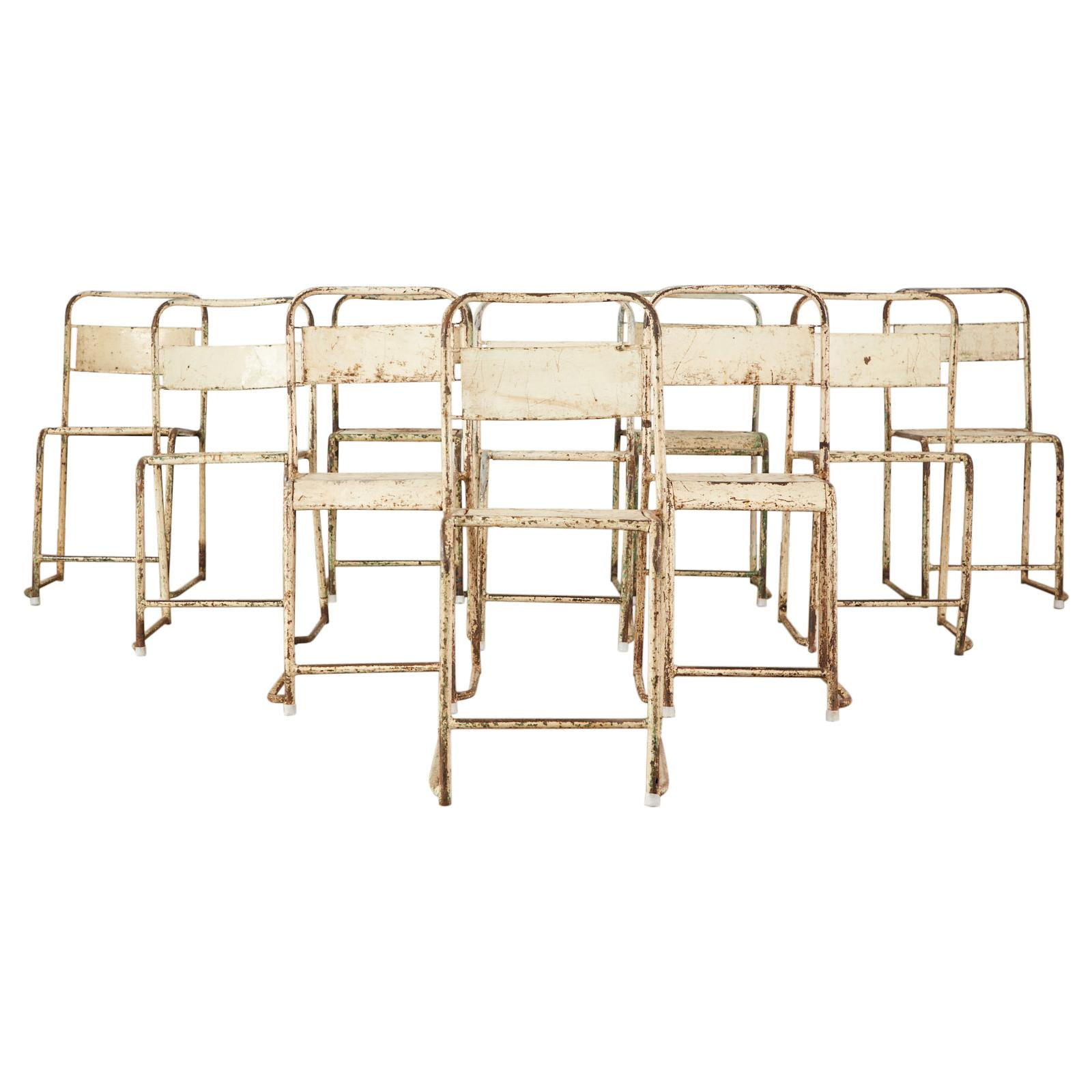 Set of Ten French Stackable Metal Bistro Cafe Chairs