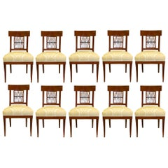Set of Ten French Turn of the Century Directoire St. Dining Chairs