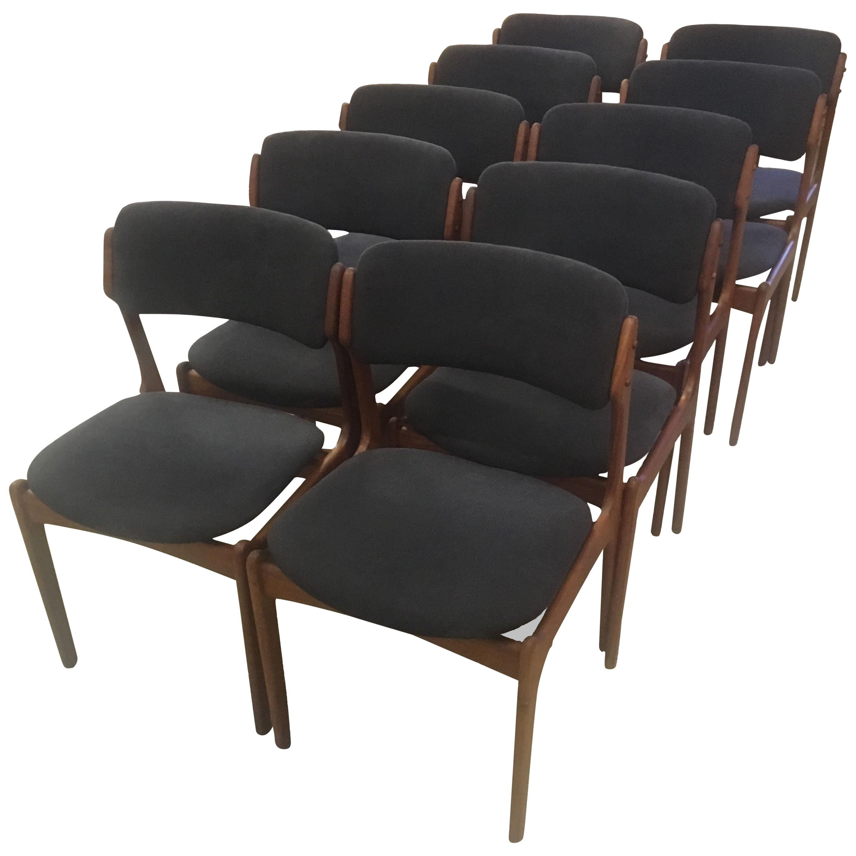 Set of Ten Fully Restored Erik Buch Teak Dining Chairs, Inc. Reupholstery