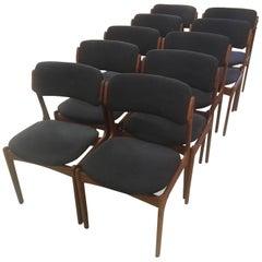 Set of Ten Fully Restored Erik Buch Teak Dining Chairs, Inc. Reupholstery