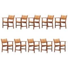 Set of Ten GE 1960s Armchairs in Leather by Hans Wegner for by GETAMA, Denmark