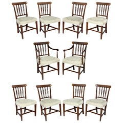 Set of Ten George III Mahogany and Inlaid Dining Chairs