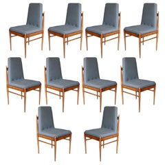 Set of Ten Grey Linen Brazilian Midcentury Dining Chairs by L'Atelier, 1960s