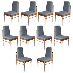 Set of Ten Grey Linen Brazilian Midcentury Dining Chairs by L'Atelier, 1960s