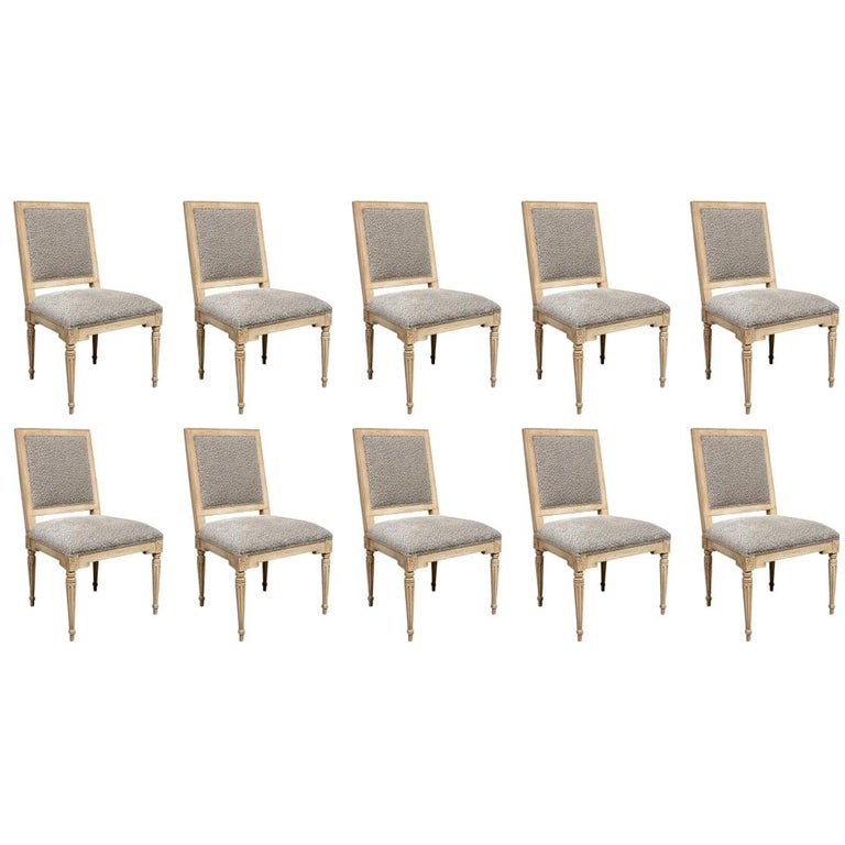 Set of Ten Gustavian Style Dining Chairs by Hickory Chair For Sale