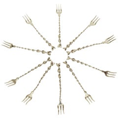 """Set of Ten Hallmarked Sterling Silver """"Twist and Ball"""" Cocktail or Serving Forks"""