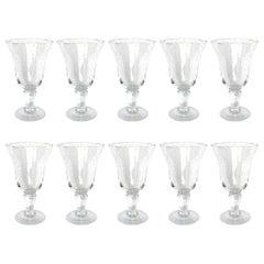 Set of Ten Hand Blown Wine Glasses