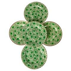 Set of Ten Hand-Painted Plates Spode Chrysanthemum Pattern England Circa 1810
