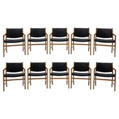 Set of Ten Hans Wegner Armchair Dining Chairs for Johannes Hansen, Denmark, 1965