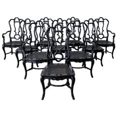 Set of Ten Hollywood Regency Faux Bamboo Dining Chairs
