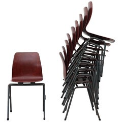 Set of Ten Industrial Dining Chair with Single Shell Seat