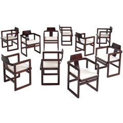 Set of Ten Italian Architectural Armchairs