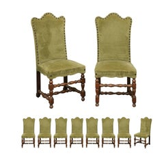 Set of Ten Italian Baroque Style 1900s Dining Side Chairs with Green Upholstery