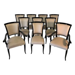 Set of Ten Italian Black and Ivory Art Deco Chairs
