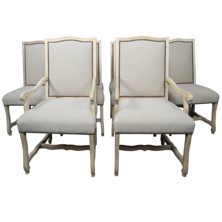Set of Ten Italian Bleached Walnut Dining Chairs