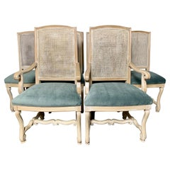 Set of Ten Italian Painted Caned Dining Chairs