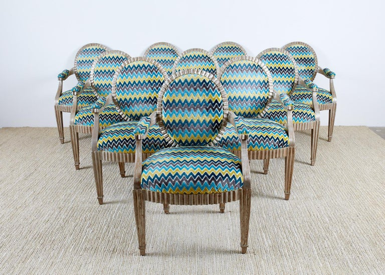 Set of Ten John Hutton for Donghia Silvered Dining Chairs In Good Condition For Sale In Rio Vista, CA