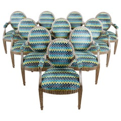 Set of Ten John Hutton for Donghia Silvered Dining Chairs