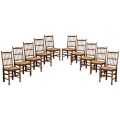 Set of Ten Lancashire Spindle Back Dining Chairs