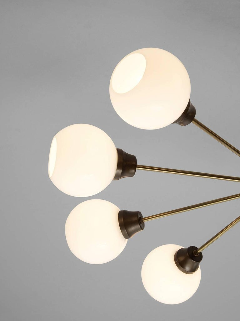 Set of Ten Large Brass and Opal Sputnik Chandeliers In Good Condition For Sale In Waalwijk, NL