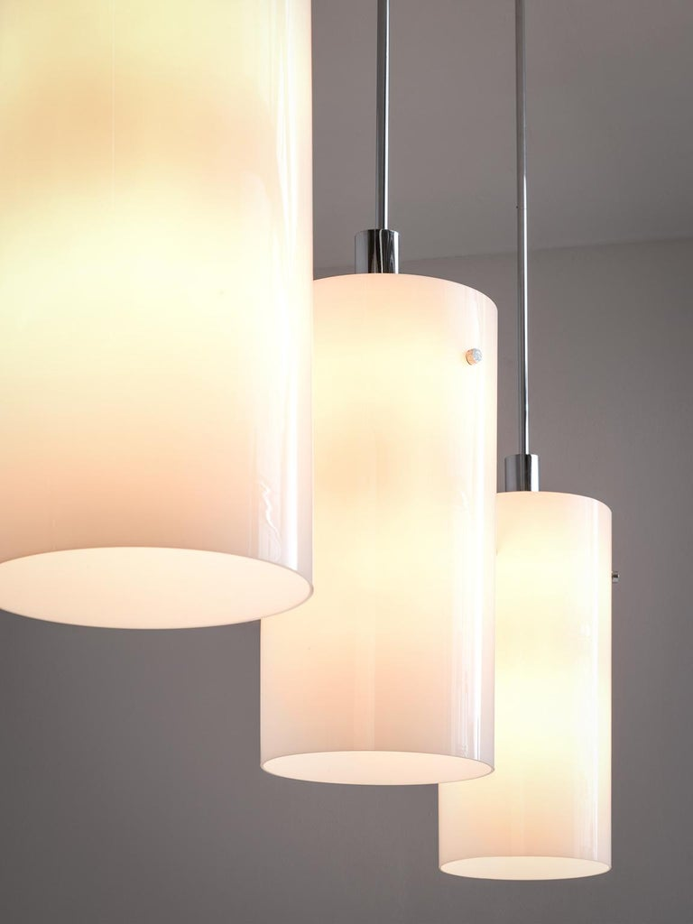 Mid-Century Modern Set of Ten Large Pendants with White Glass Shade For Sale