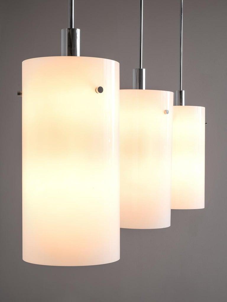 European Set of Ten Large Pendants with White Glass Shade For Sale