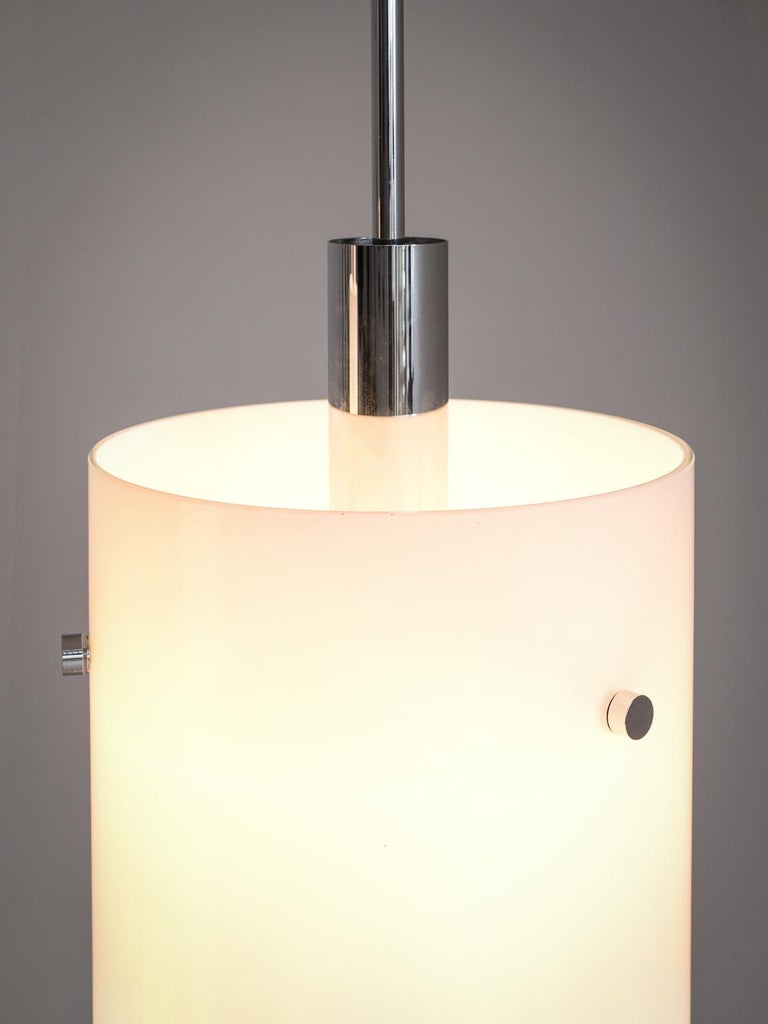Set of Ten Large Pendants with White Glass Shade In Good Condition For Sale In Waalwijk, NL