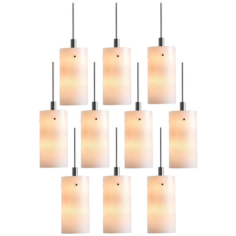 Set of Ten Large Pendants with White Glass Shade For Sale